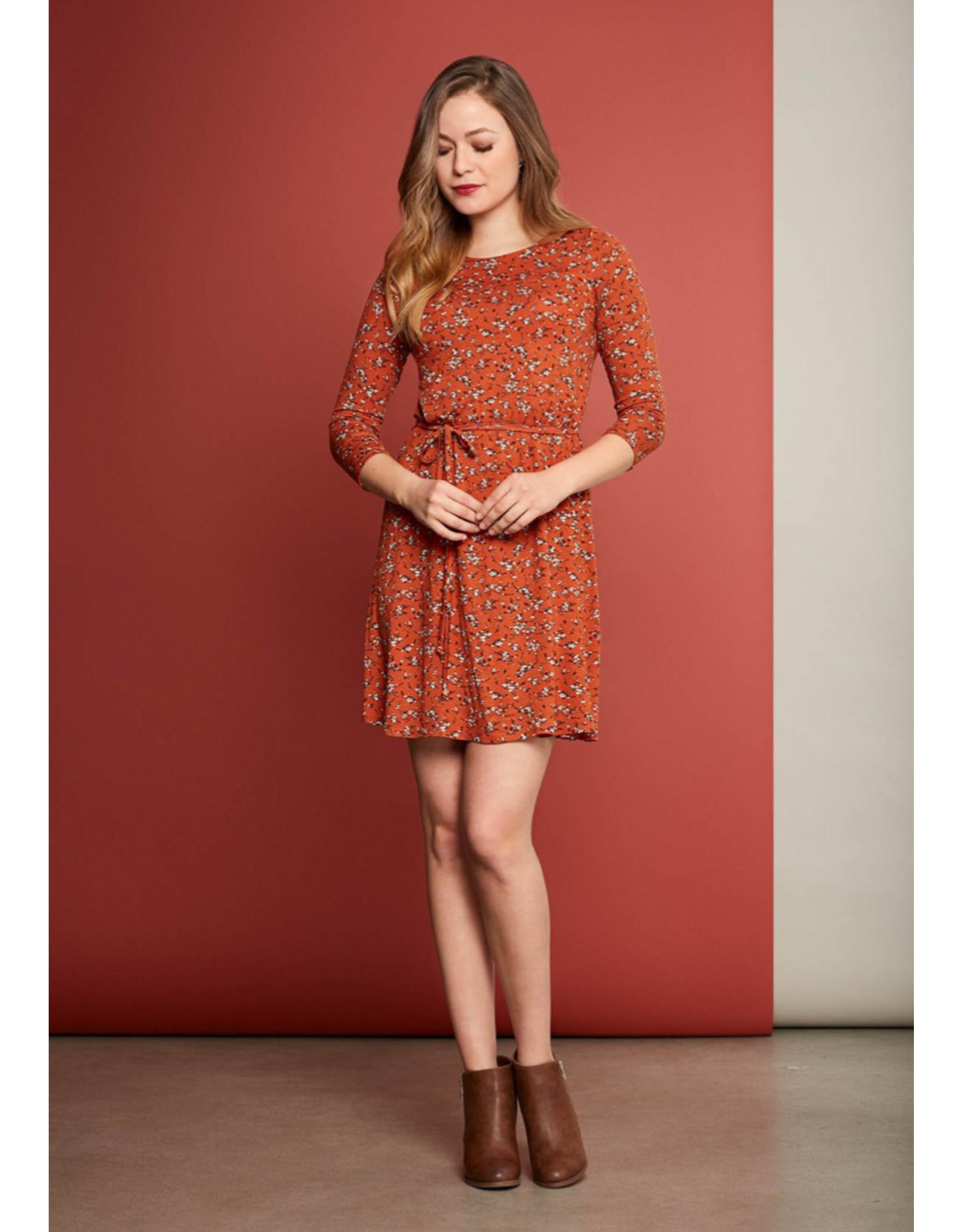 Cherry Bobin Robe Indio Jersey fleuri orange