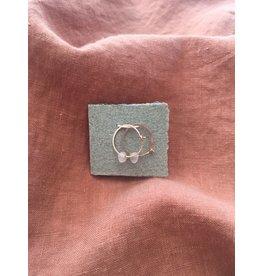Les Parcelles Boucles d'oreilles Anneaux Martelés 14K - Pierres transparentes