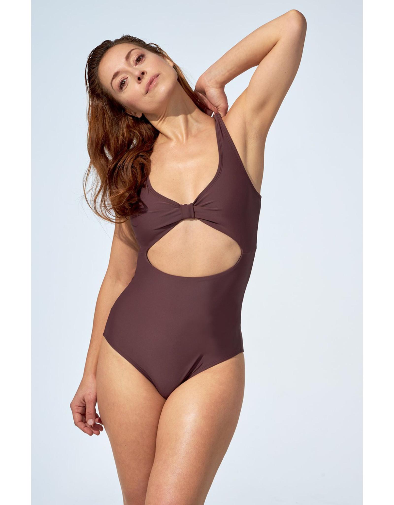 Selfish Swimwear Une pièce Nicole mauve foncé
