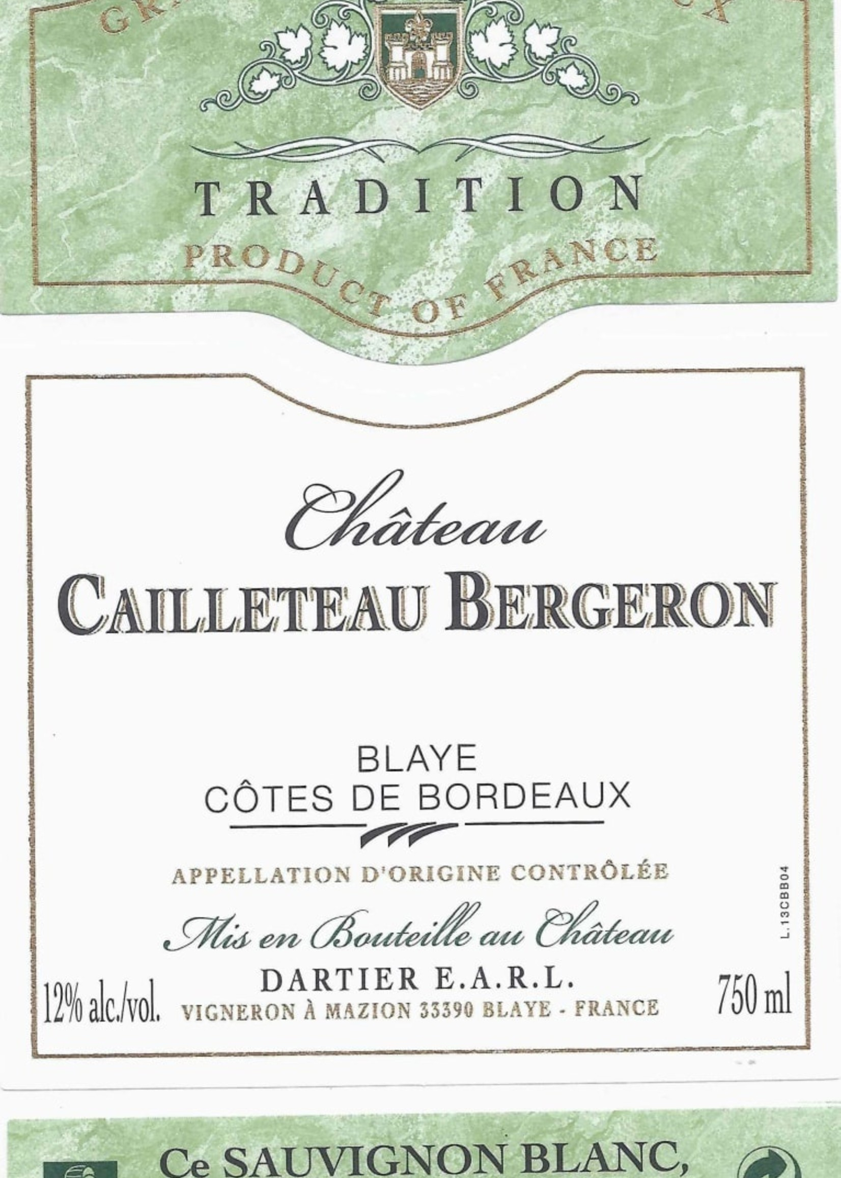 Chateau Cailleteau Bergeron White Bordeaux
