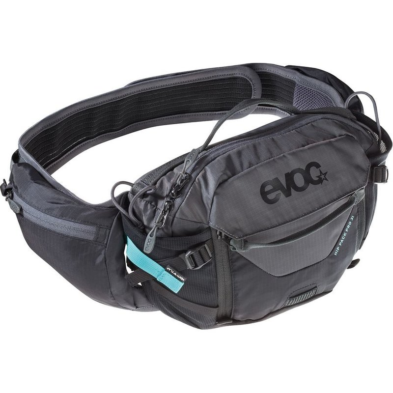 EVOC Hip Pack Pro, Hydration Bag, Volume: 3L, Bladder: Included (1.5L), Black/Carbon Grey