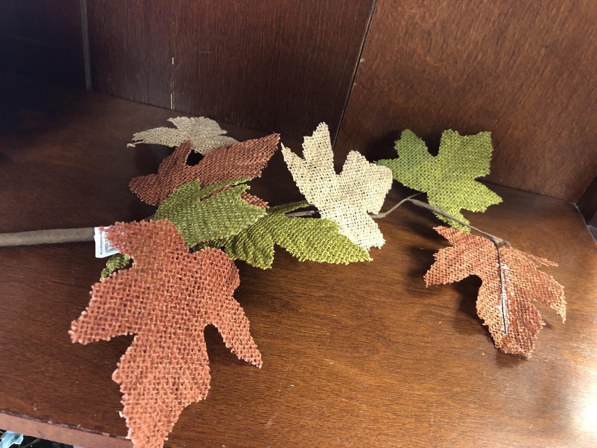 Burlap Maple Leaves Garland 48 Klomps