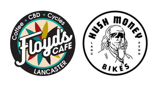 Floyd's Cafe and Hush Money Bikes Logos