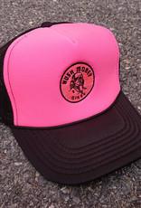 Hush Money Bikes Ben Cranklin Embroidered Foam Trucker Hat Hot Pink