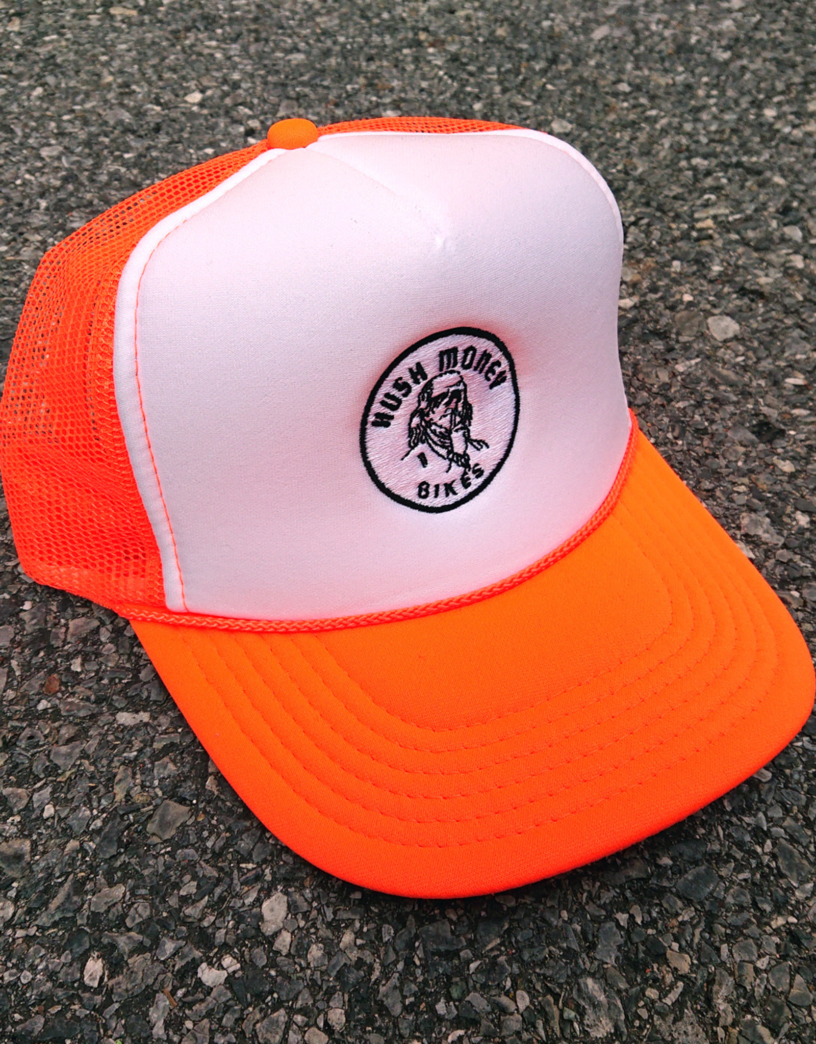 Hush Money Bikes Ben Cranklin Embroidered Foam Trucker Hat Blaze Orange