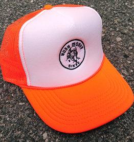Hush Money Bikes Ben Cranklin Embroidered Foam Trucker Hat Blaze Orange
