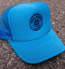 Hush Money Bikes Ben Cranklin Embroidered Foam Trucker Hat Fla-Vor-Ice Blue