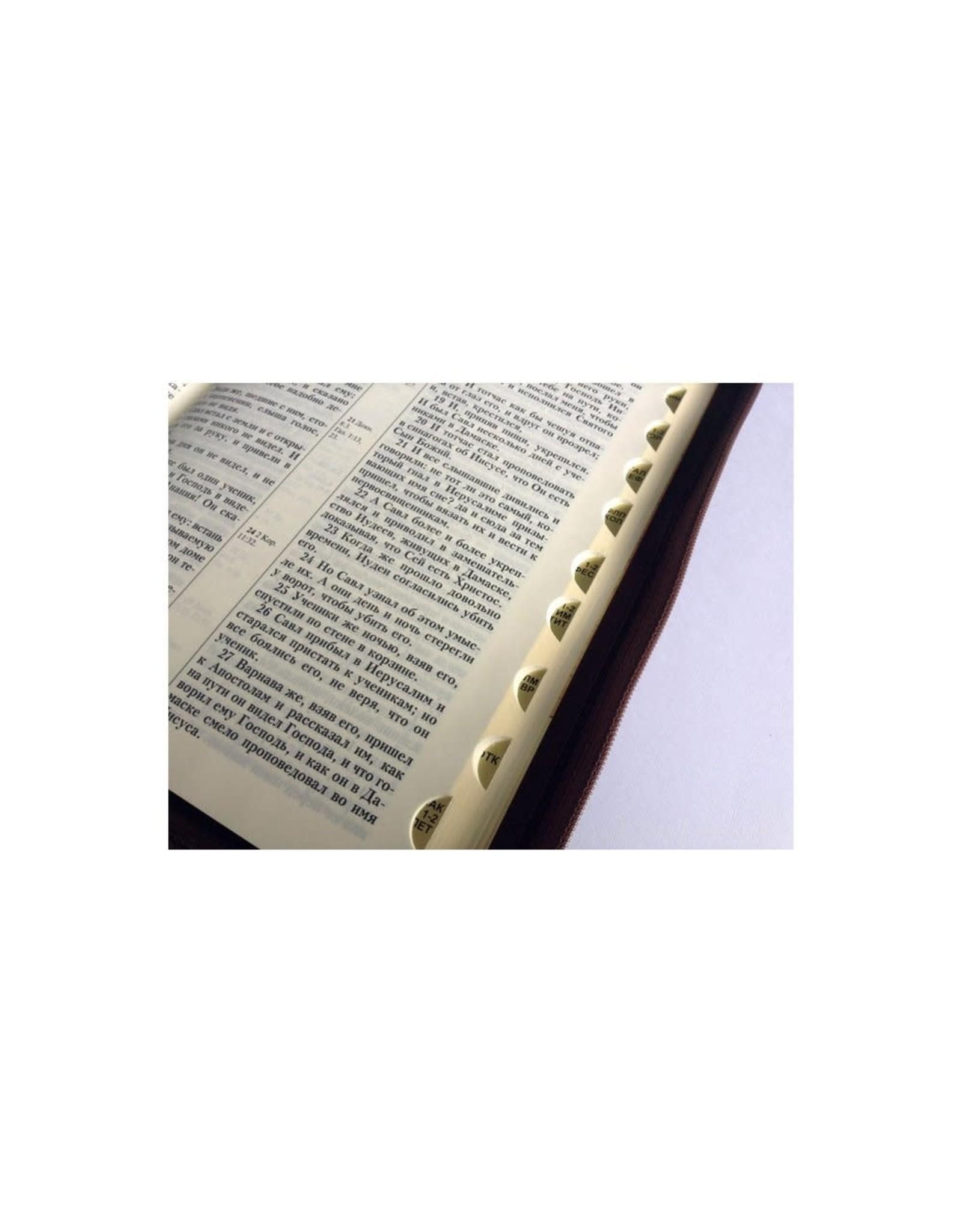 Библия, Каноническая (SYNO), Заменитель Кожи, Коричневая с Узорной Рамкой, Индексы, Большая