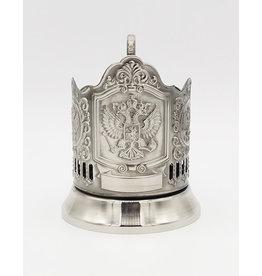 """Russian Glass Holder, """"Royal Emblem of Russia, Подстаканник """"Герб царской России"""" (никелированный)"""