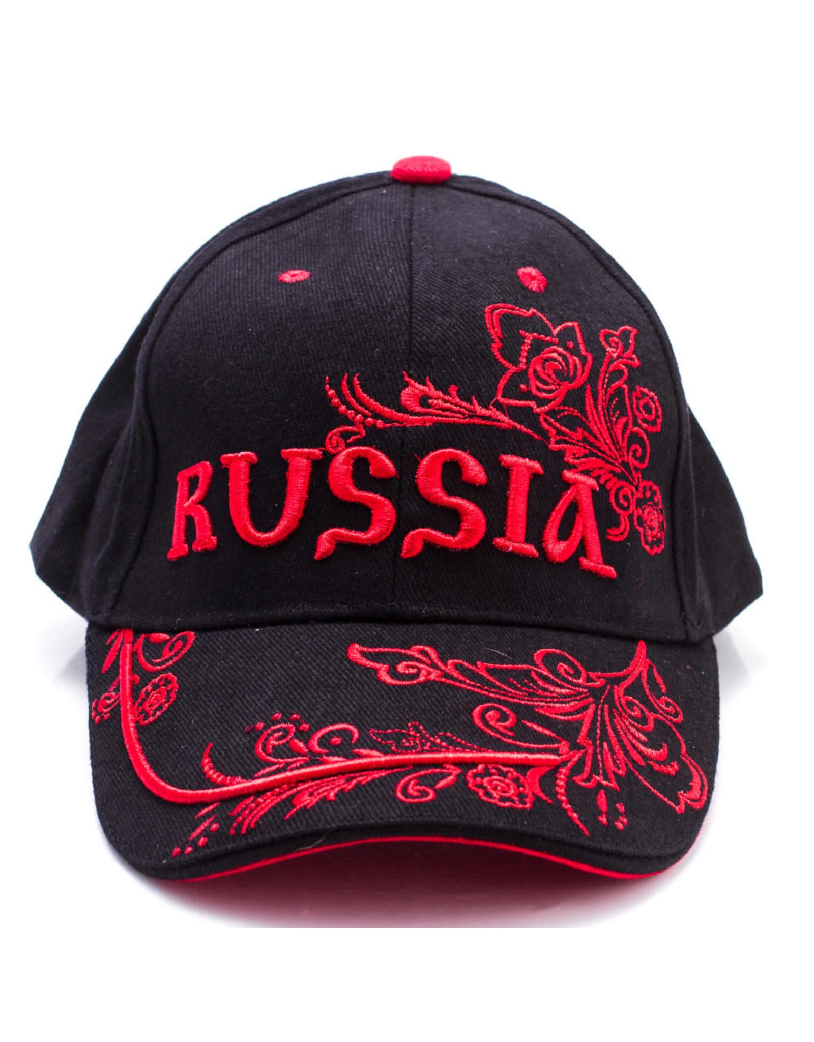 Baseball Cap, Russia (Black-Red)