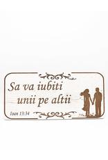 Wood Wall Plaque Romanian, John 13:34