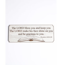 Wood Wall Plaque, Numbers 6:24-25, Large