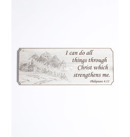 Wood Wall Plaque, Philipians 4:13, Large