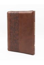 Библия, Каноническая (SYNO), Заменитель Кожи, Коричневая с Узором (Лоза), Индексы, Средняя
