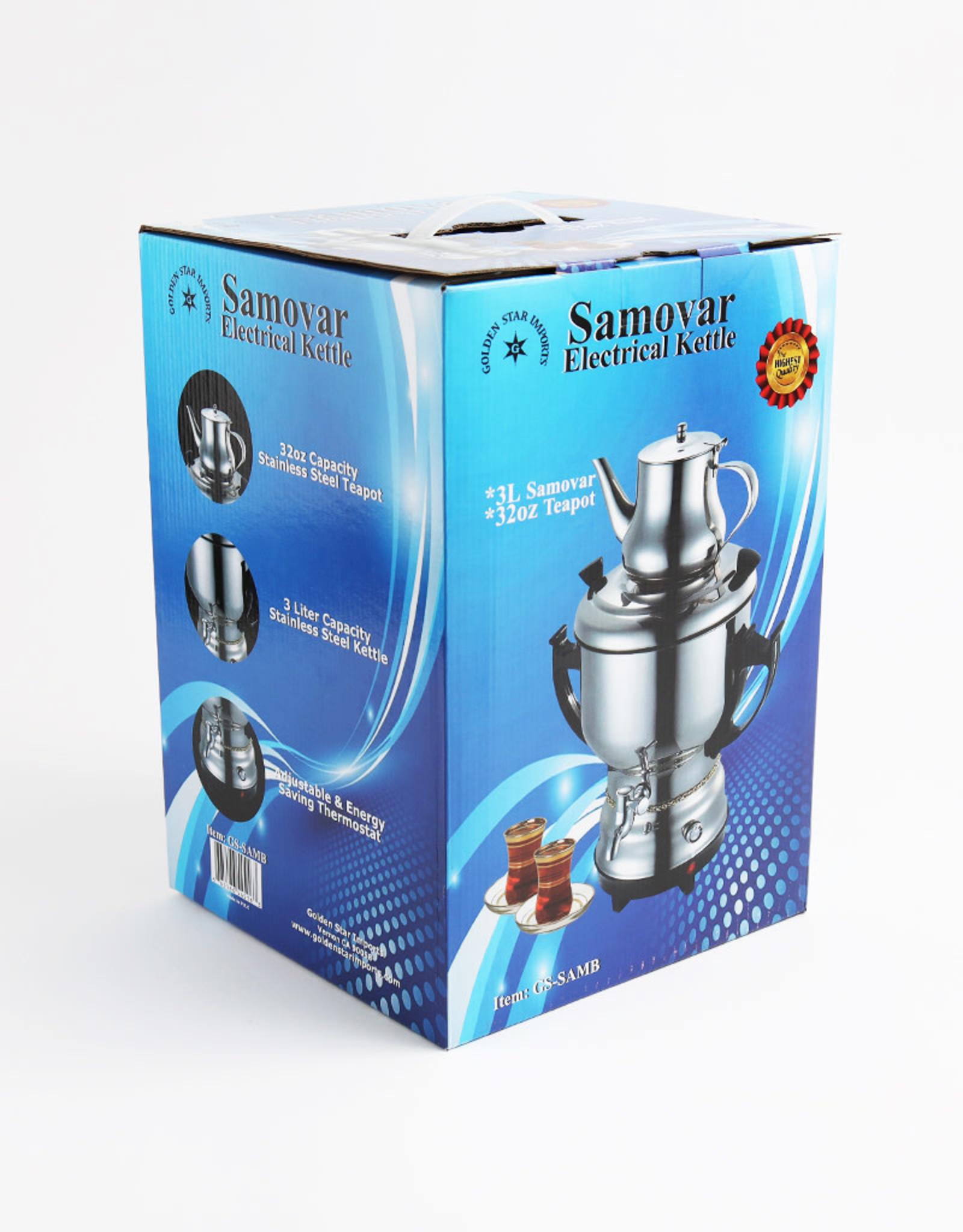 Stainless Steel Samovar 3 liters, Black Handles