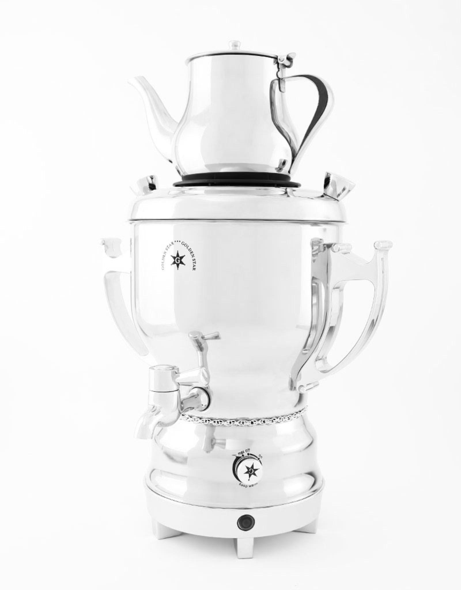 Электрический самовар на 3 литра, серебряный