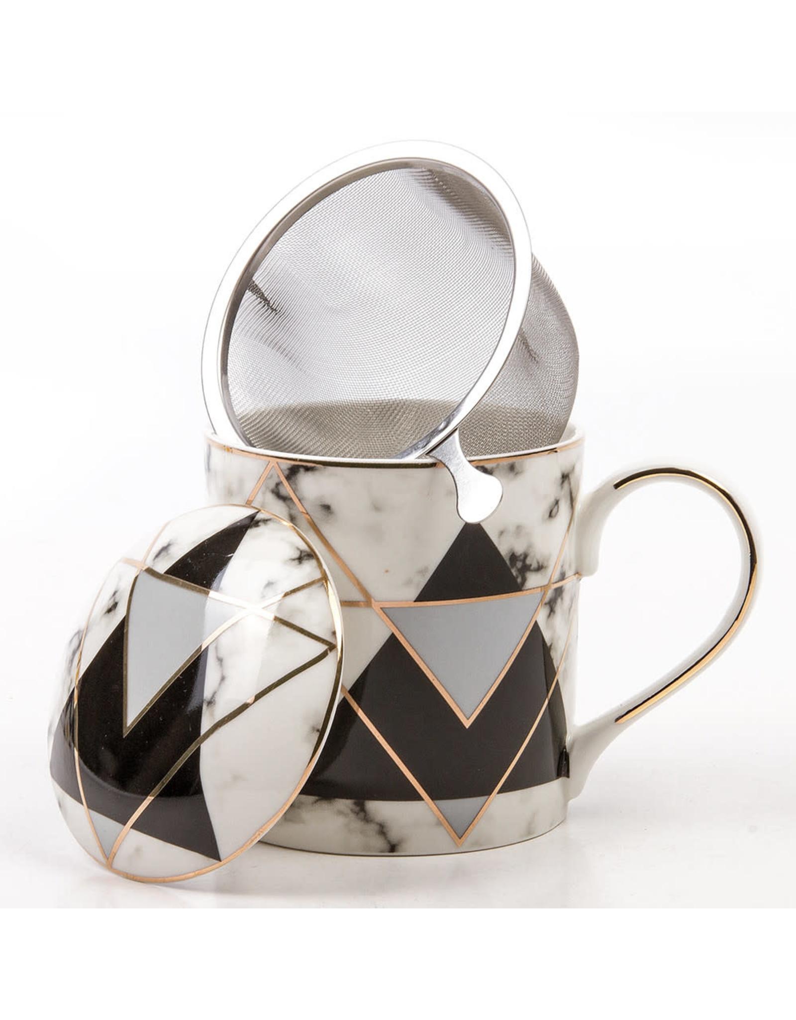 Кружка керамическая с заварником, Чёрная