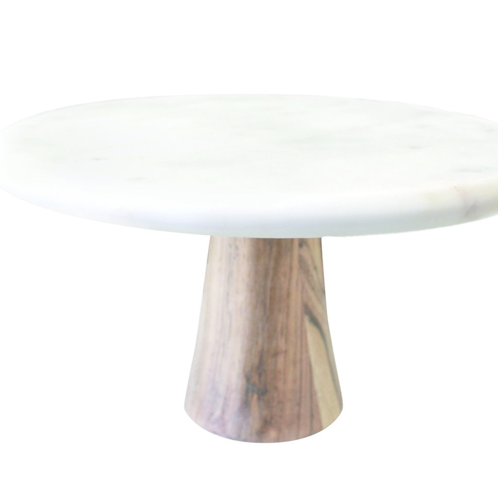 BeHome White Marble and Wood Cake Stand
