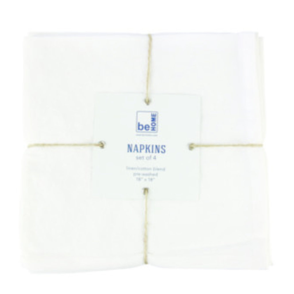 BeHome Linen Napkins White Set of 4