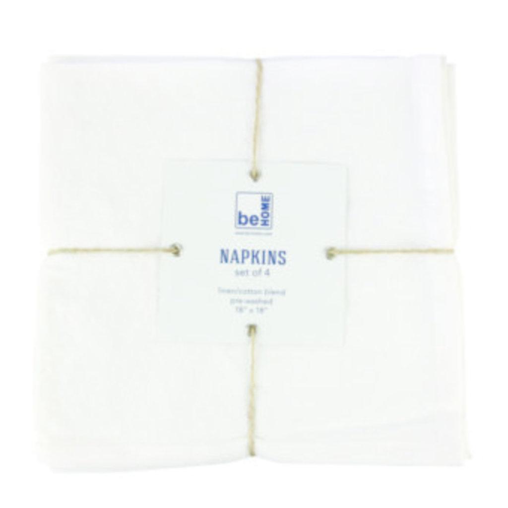 - Linen Napkins White Set of 4