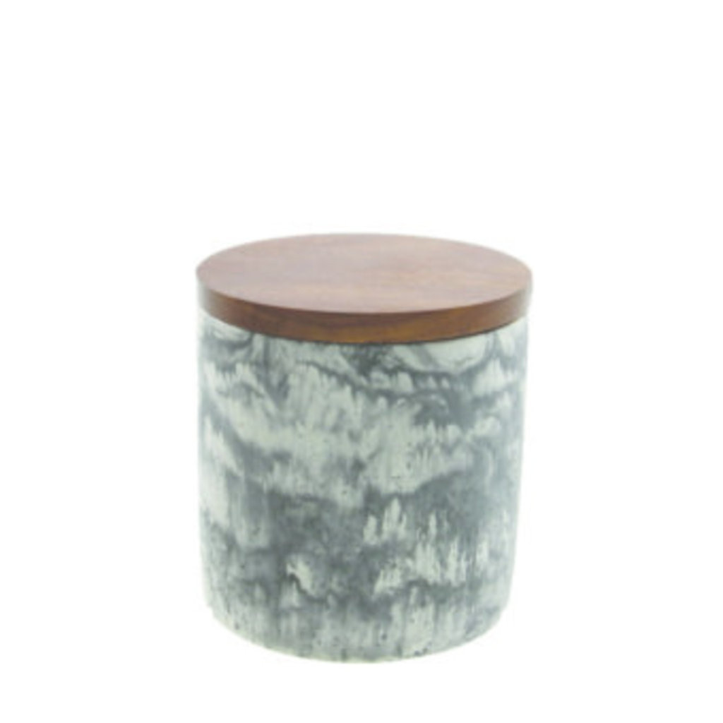 - Marble Cement Container With Wood Lid Black