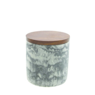 BeHome Marble Cement Container With Wood Lid Black