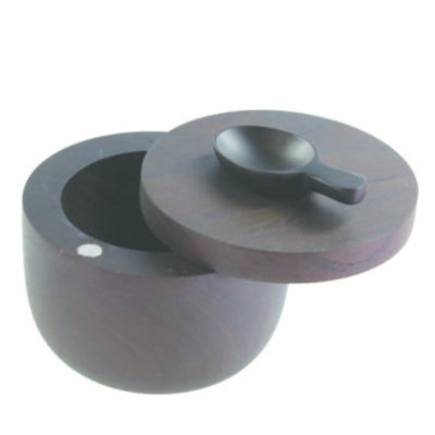 BeHome Ebony Teak Cellar With Spoon and Pivoting Lid