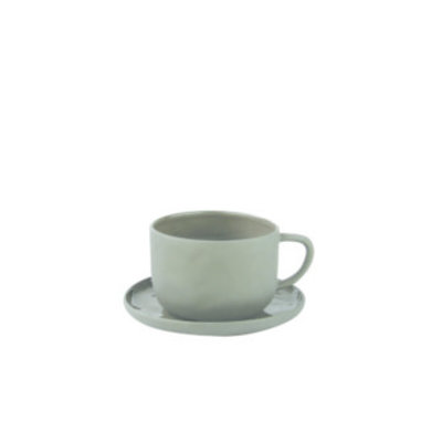 BeHome Stoneware Tea Cup and Saucer Slate