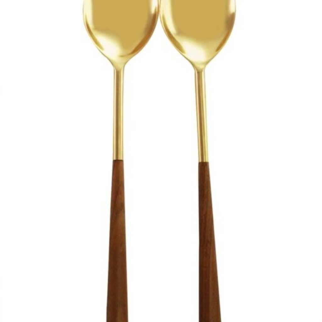 BeHome Gold and Wood Serving Set of 2