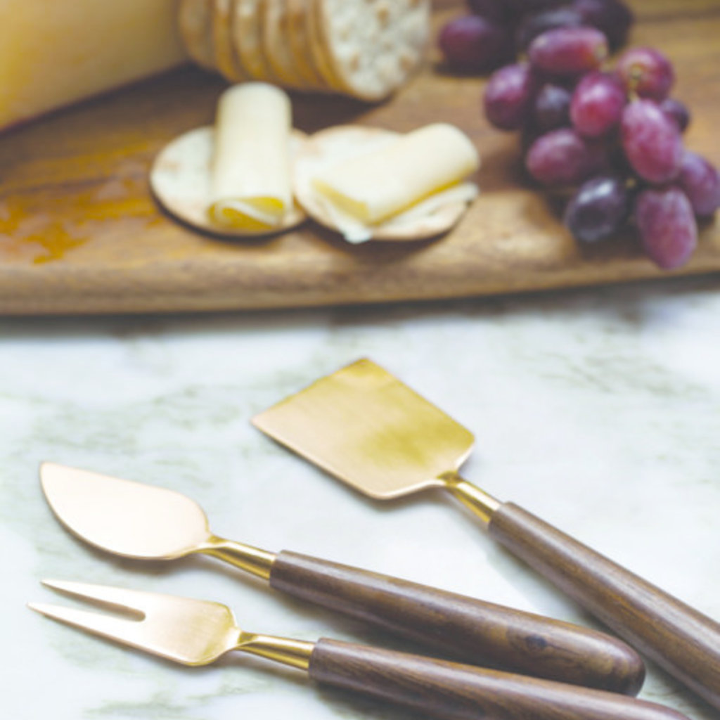 BeHome Gold and Wood Cheese Set of 3