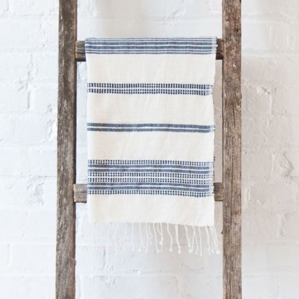 Creative Women Aden Hand Towel - White with Navy