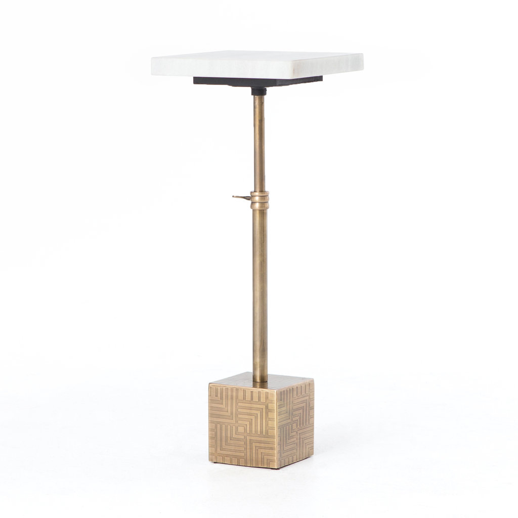 - Sirus Adjustable Accent Table - Antique Brass