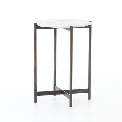 Adair Side Table Marble Hammered Black