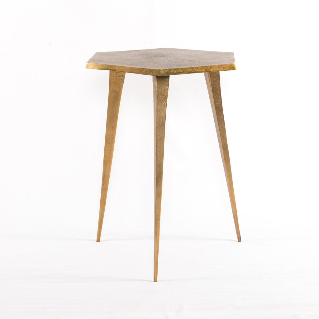 Hex End Table Raw Brass