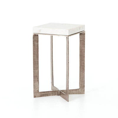 Leanne End Table - Brushed Nickel