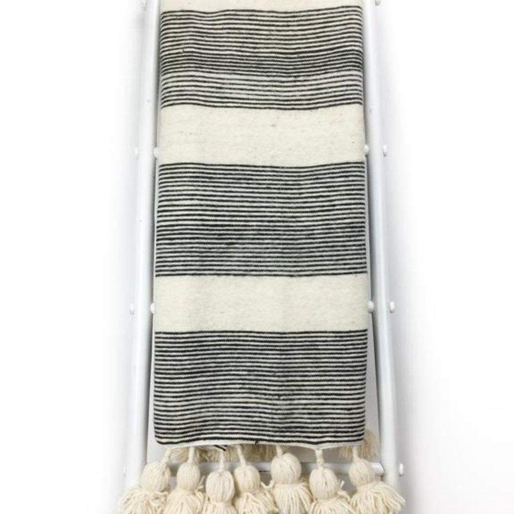 Black Strip Pom Pom Wool Morocco