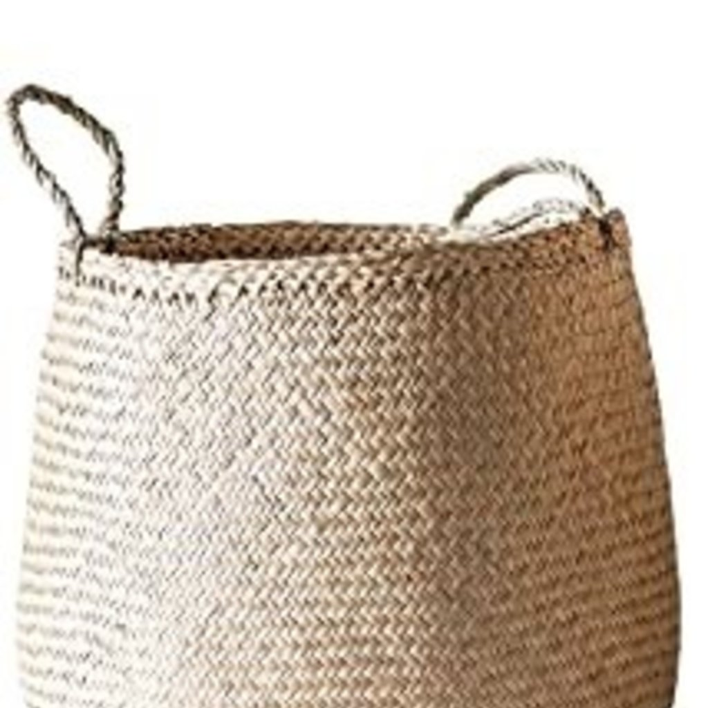 """Creative Co-Op 14"""" Round x 14"""" Round NATURAL WOVEN SEAGRASS BASKETS W/ HANDLES"""