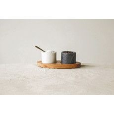 - Mango Wood Tray - Salt and Pepper Wells