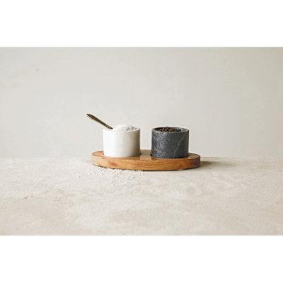 Bloomingville Mango Wood Tray - Salt and Pepper Wells