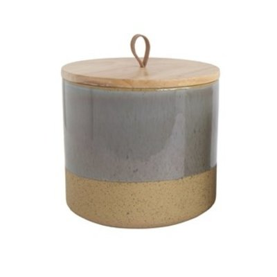 Creative Co-Op GREY STONEWARE CANISTER W/ WOOD LID & LEATHER LOOP