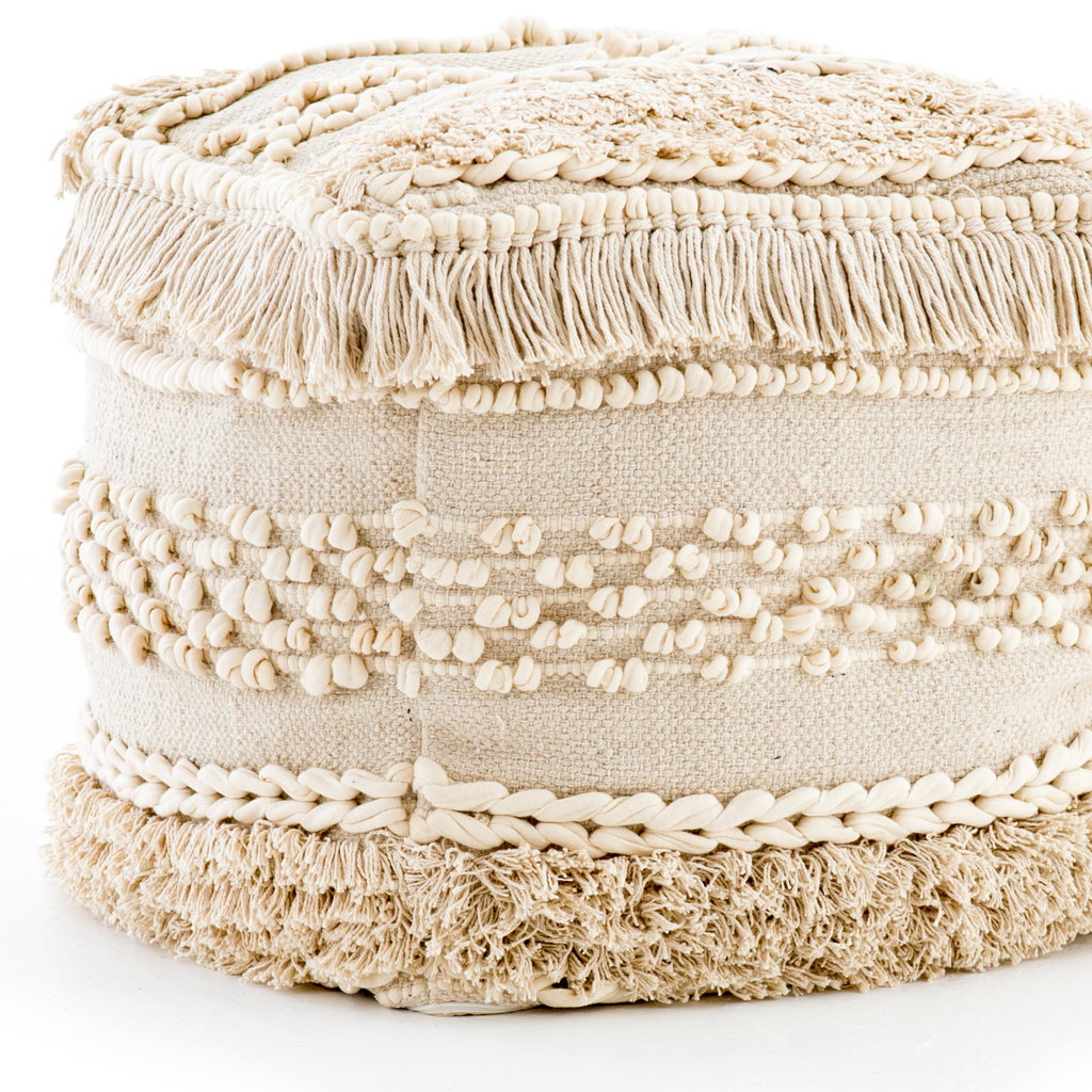 Four Hands Braided Fringe Pouf