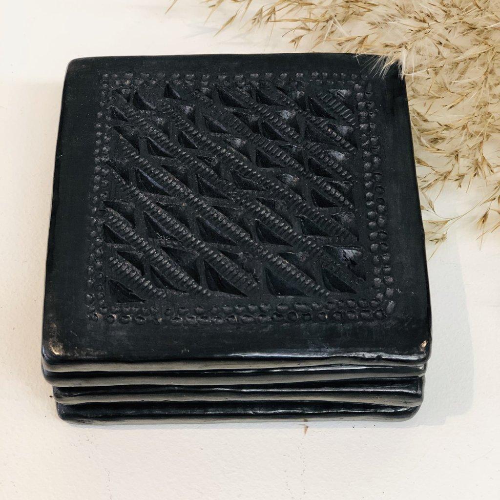 - Oaxaca Black Clay Coasters