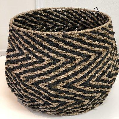 Bloomingville Seagrass  Black Chevron Basket