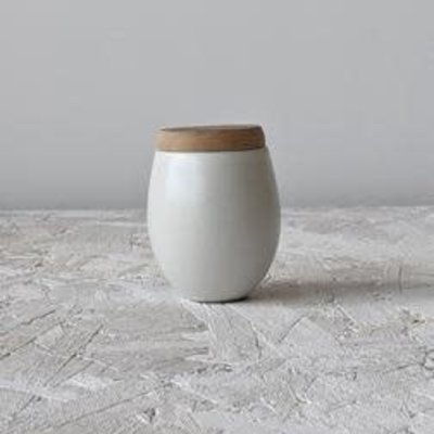 Gharyan Jar With Olive Wood Lid 4.5 oz Small-Matte White