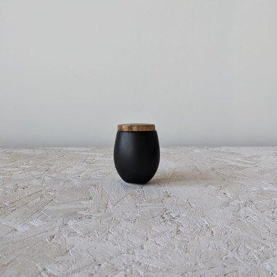 Gharyan Jar with Wood Cover - 4.5 oz Small-Matte Black