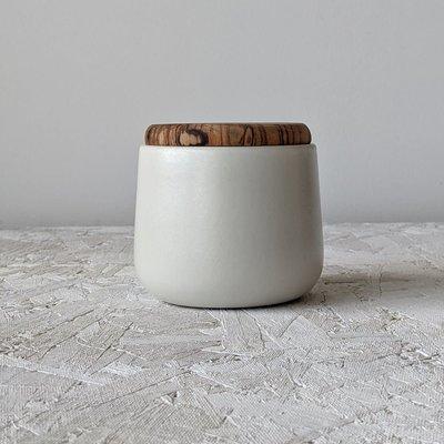 "Gharyan Jar With Olive Wood Lid 4"" Medium-Matte White"