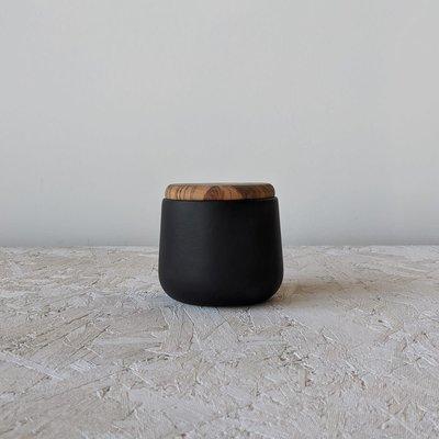 "Gharyan Jar With Olive Wood Lid 4"" - Medium-Matte Black"