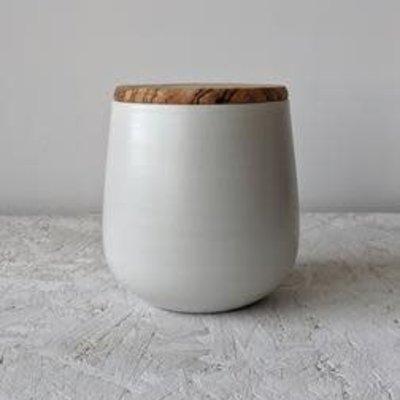 Gharyan Jar With Olive Wood Lid 128 oz Large-Matte White