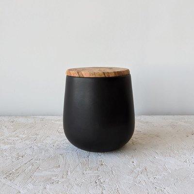Gharyan Jar With Olive Wood Lid 128 oz- Large-Matte Black