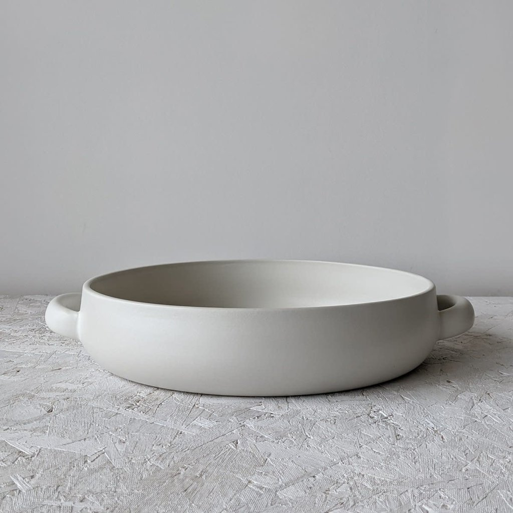 """- Large Serving Plate With Handles 13.4"""" Matte White"""